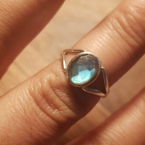 Sterling silver unique color ring rock Labradorite